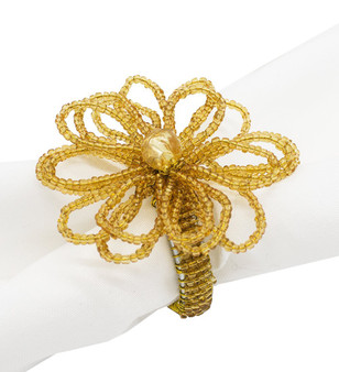 Fennco Styles Hand Beaded Flower Design Napkin Ring-Set of 4