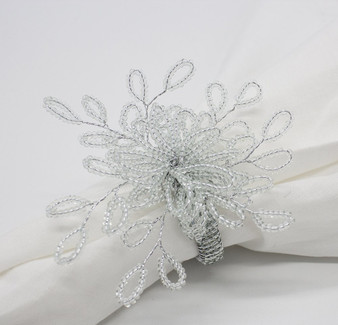 Fennco Styles Faux Elegant Pearl Collection Wedding Special Event Table Napkin Rings - Set of 4