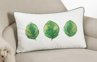 "Fennco Styles Embroidered and Printed Leaf Decortative Throw Pillow 12""x20"""