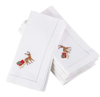 """Fennco Styles Embroidered Reindeer Christmas Holiday Hemstitched Border Cotton Napkin 20"""" Square - Set of 4 (Reindeer)"""