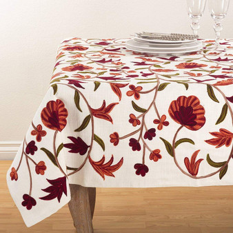 """Fennco Styles Floral Design Embroidered Design Table Topper Tablecloth (54""""x54"""" Table Topper)"""