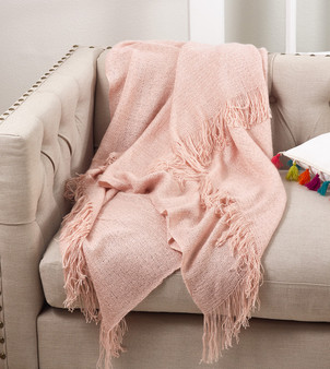 "Fennco Styles Classic Solid Color Throw Blanket With Tassels, 50"" x 60"", Pink"