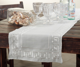 "Fennco Styles Greek Key Embroidered Design Table Runner - Ivory - 16""x72"" Rectangular"