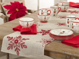 Fennco Styles Nivalis Collection Holiday Embroidered Snow Flakes Table Runner – Variety Color Table Runners for Christmas Dinner, Family Gathering, Special Events and Home Décor