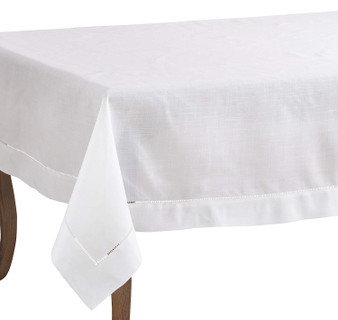 Fennco Styles Classic Solid Color Hemstitched Border Tablecloth for Dining Table, Banquet, Wedding, Family Dinne 70 x 90 Inch, White
