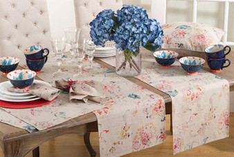 Fennco Styles Primavera Collection Printed Floral Design 100% Linen Table Runner