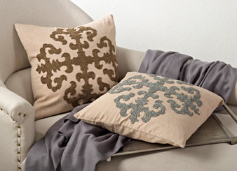 Ingrid Beaded Medallion Down Filled Throw Pillow, 18-inch Square