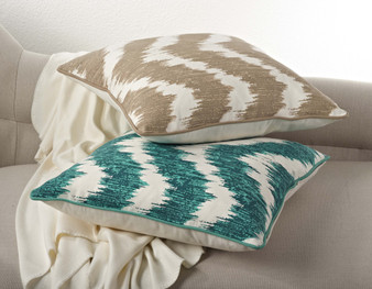 Printed Wavy Design Down Filled Decorative Throw Pillow