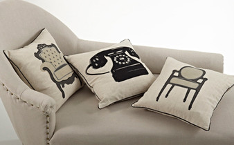 Printed and Stitched Chaise Design Down Filled Decorative Throw Pillow