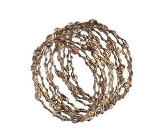 Woven Metal with Beads Napkin Rings, Set of 4