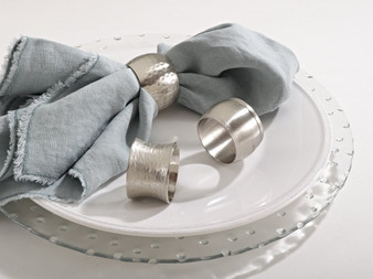 Silver Tone Round Shape Napkin Rings, Set of 4