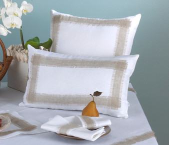 Martinique White Crisp with Natural Color Banded Throw Pillow