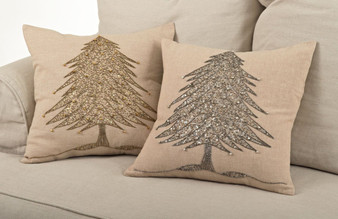 Sapin De Noël Beaded Christmas Tree Design Throw Pillows