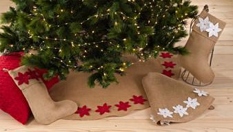Fennco Styles Felicia Poinsettia Burlap Christmas Stocking & Tree Skirt