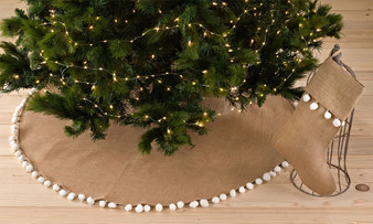 Pompom Trim Jute Holiday Christmas Tree Skirt and Stocking