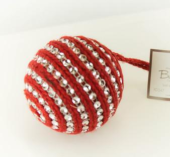 Handmade Rhinestones & Jute Design Holiday Christmas Tree Ball Ornaments, 2-Piece Set