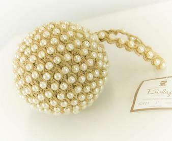 Handmade Jute and Pearl Holiday Xmas Tree Natural Ball Ornaments, 2-piece Set