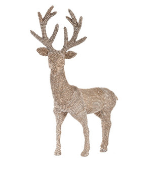 "Fennco Styles Holiday Decor Sparkling Studded Design Reindeer (Champagne, 18"" x 7.5""x 20"")"