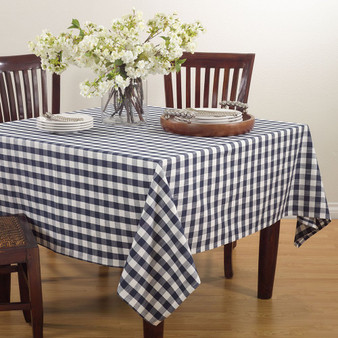 "Fennco Styles Gingham Plaid Cotton Square Tablecloth -72""x72"""