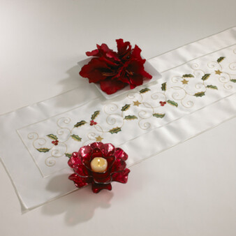Embroidered Holly Design Table Runner
