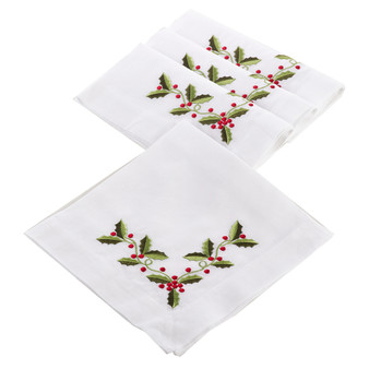 Holly Embroidered Napkin, Set of 4