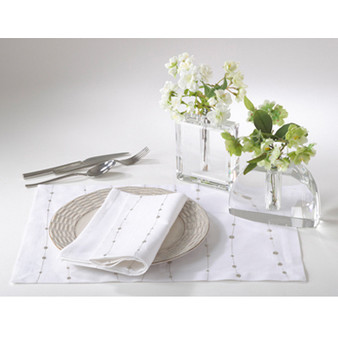 Elegant Embroidered Cristaux Placemats, Set of 4