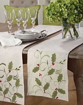Appliqué Holly Leaves Table Runner
