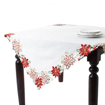 Embroidered & Cutwork Poinsettia Design Ivory Tablecloth