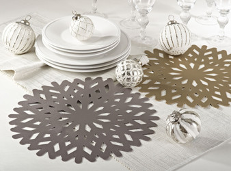 Jelena Round Cutwork Snowflake Table Placemats, Set of 4