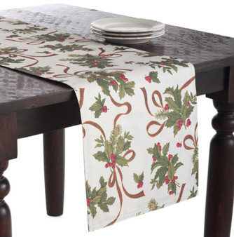 Fête De Noël Holly Design Festive Holiday Table Runner