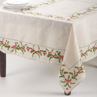 Holiday Embroidered Holly Design Tablecloth, Natural Color