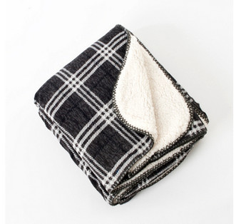 Slate Plaid & Sofa Sherpa Reverse Throw Blanket