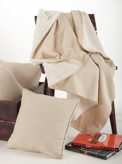 Classic Design Linen Blend Throw Blanket with Sherpa