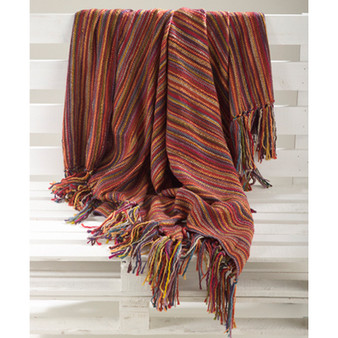 Multicolor Woven Design Fringe Throw Blanket