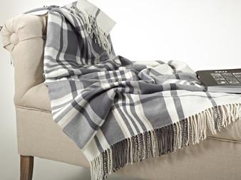 Plaid Design Throw Blanket in Soft Hues