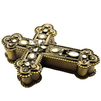 Studded Gold-tone Jeweled Cross Trinket Box