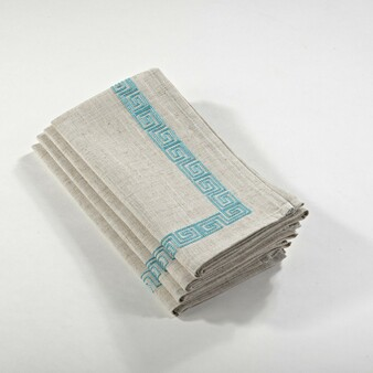 Stitched Greek Key Design Napkin, Set of 4