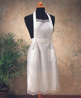 Hand Embroidered and Cluny Lace Full Size Cuisine Apron
