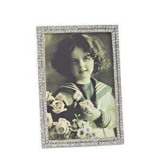 Fennco Styles Diamond Design Silver Photo Frame, 2 Photo Sizes