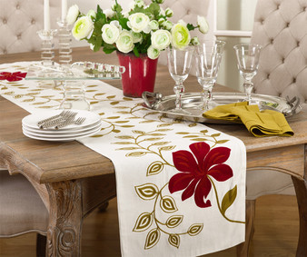 Fennco Styles Embroidered Flower Design Rectangular Table Runner