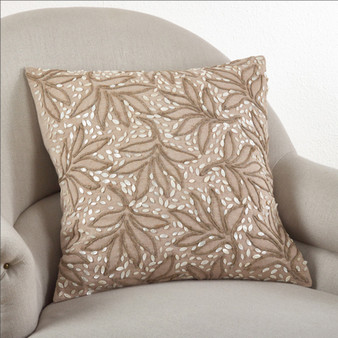 Fennco Styles 20-inch Embroidered Leaves Down Filled Pillow, Natural