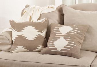 Fennco Styles 20-inch Kilim Design Down Filled Throw Pillow, Natural