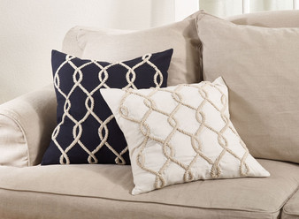 Fennco Styles 20-inch Embroidered Cord Down Filled Throw Pillow, 2 Colors