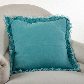 Fennco Styles 20-inch Ruffled Linen Down Filled Throw Pillow, 4 Colors