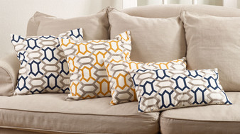 Fennco Styles Stitched Geo Design Throw Pillow, 2 Colors