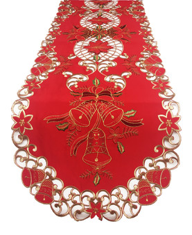 Fennco Styles Holiday Festive Design Embroidered and Cutwork Table Linens Tablecloth Runner