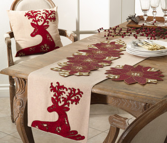 Fennco Styles Cervidae Embroidered Deer Design Table Runner/ Pillow
