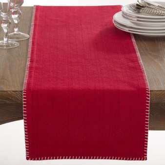 "Celena Collection Whip Stitched Design Cotton Table Runner - 13""W X 72""L - 5 Colors"