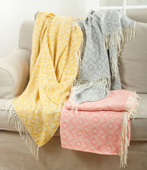 Fennco Styles Jacquard Design Throw Blanket - 3 Colors