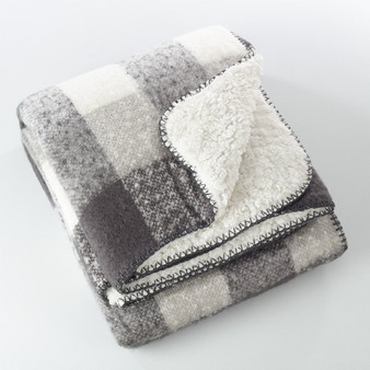 Fennco Styles Faux Mohair Design Sherpa Throw - Grey and White